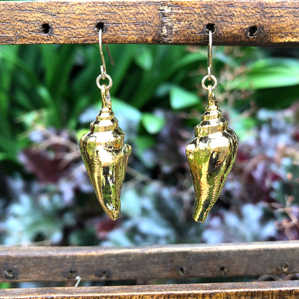 Gold plate Conch seashell drop earrings