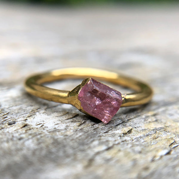Gold plate Pink Tourmaline stacking ring, Size K