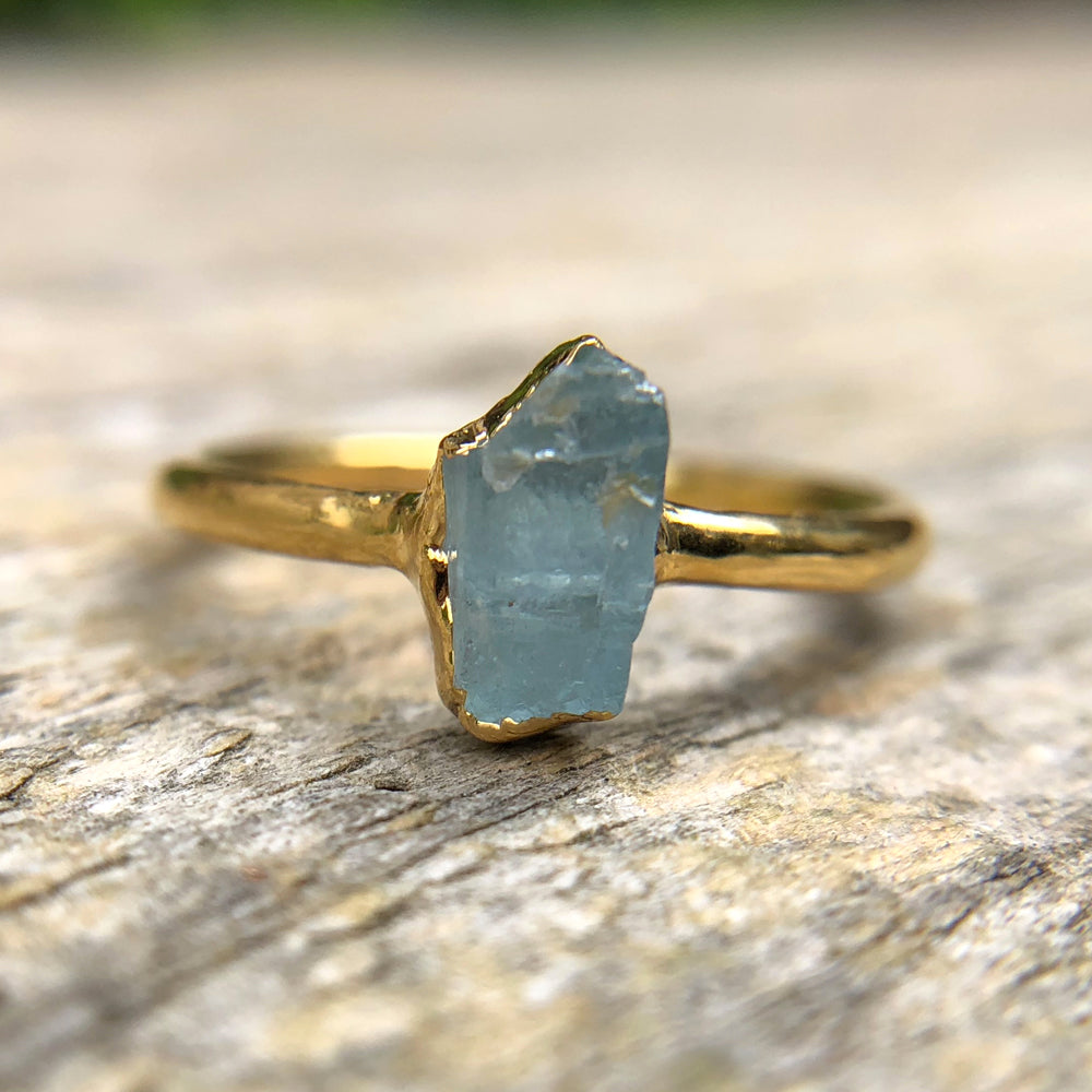 Gold plate Aquamarine stacking ring, Size P