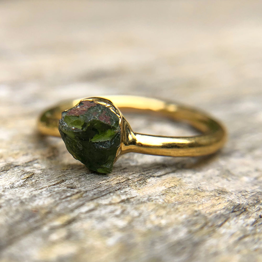 Gold plate Green Tourmaline stacking ring, Size K 1/2