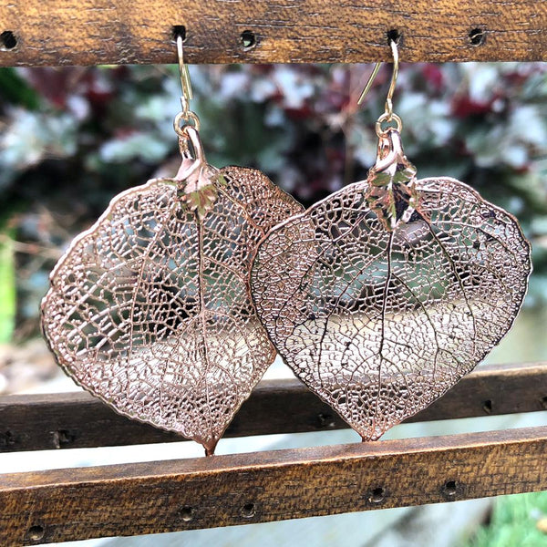 Aspen Rose Gold Plate Leaf Earrings