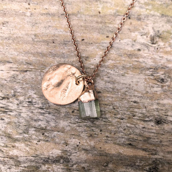 Rose Gold Plate Green Tourmaline Pendant