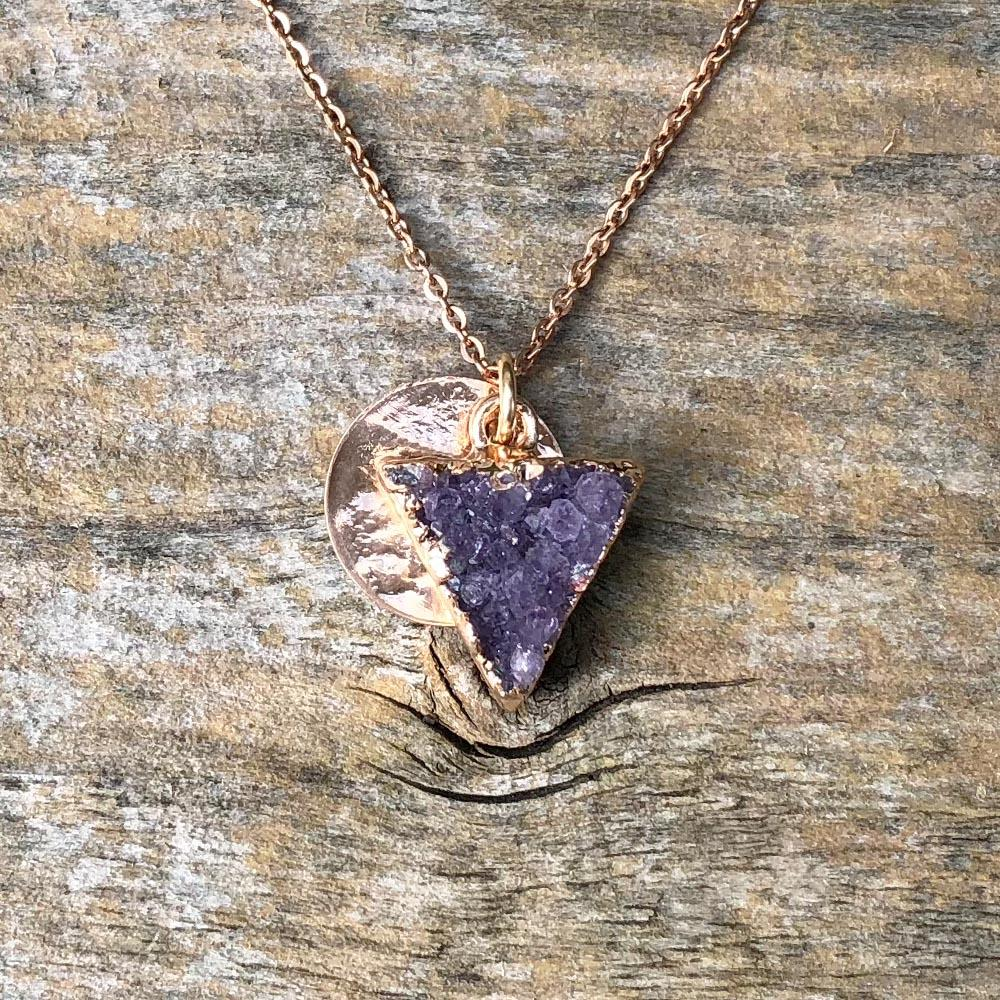 Rose gold Amethyst triangle shape pendant