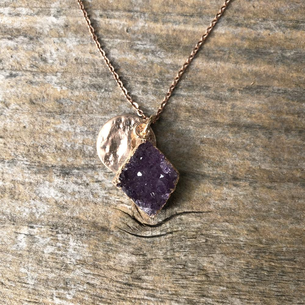 Rose gold plate amethyst diamond shape pendant