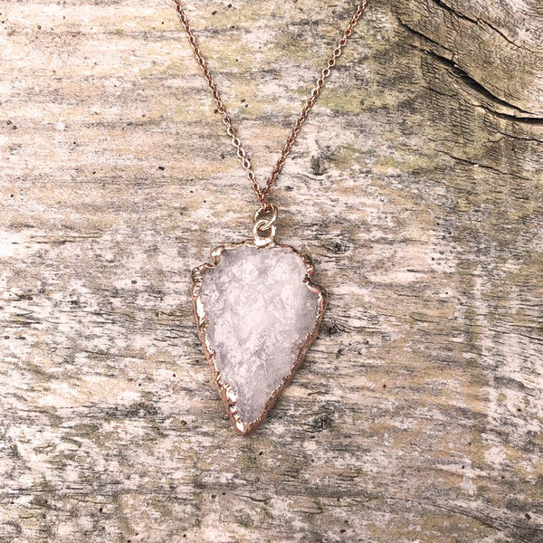 Rose Gold Plate Rose Quartz Arrowhead Pendant