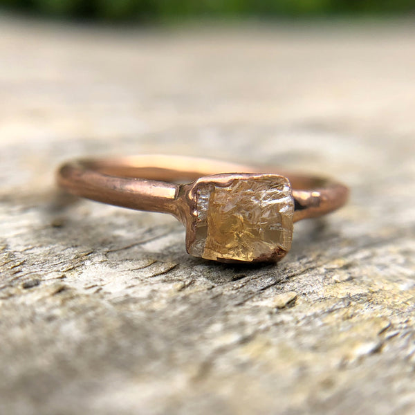 Rose gold plate Citrine stacking ring, Size M