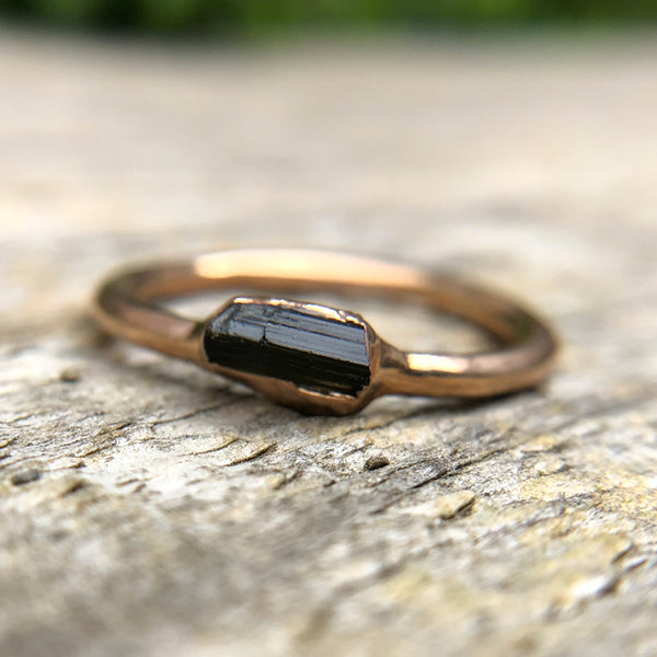 Rose Gold plate Green Tourmaline stacking ring, Size M