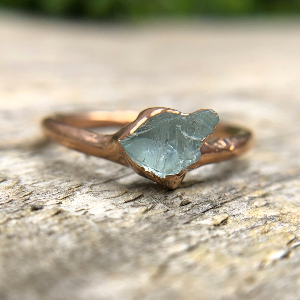 Rose gold plate Aquamarine stacking ring, Size P