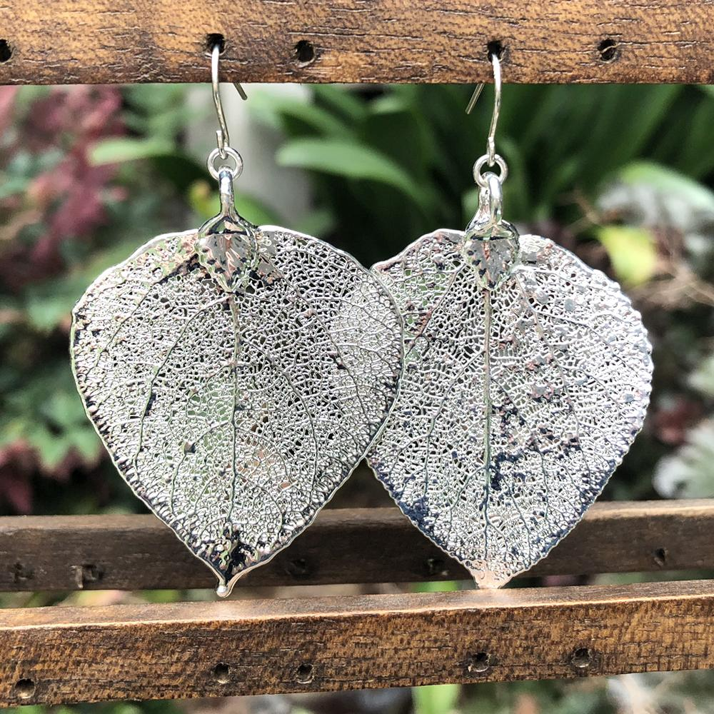 Aspen Silver Plate Leaf Earrings