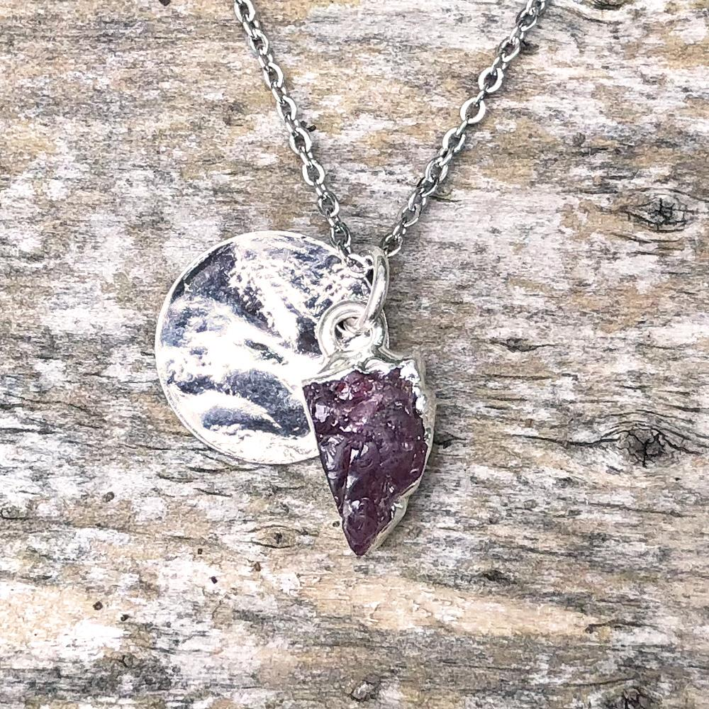 Sterling Silver Plate Amethyst Pendant