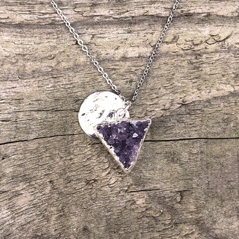 Sterling Silver Plate Amethyst Triangle Shape Pendant
