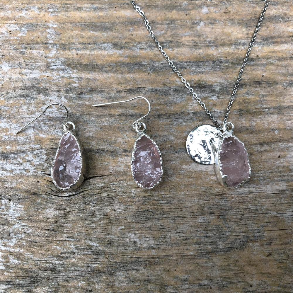 Sterling silver plate rose quartz teardrop pendant and earrings set