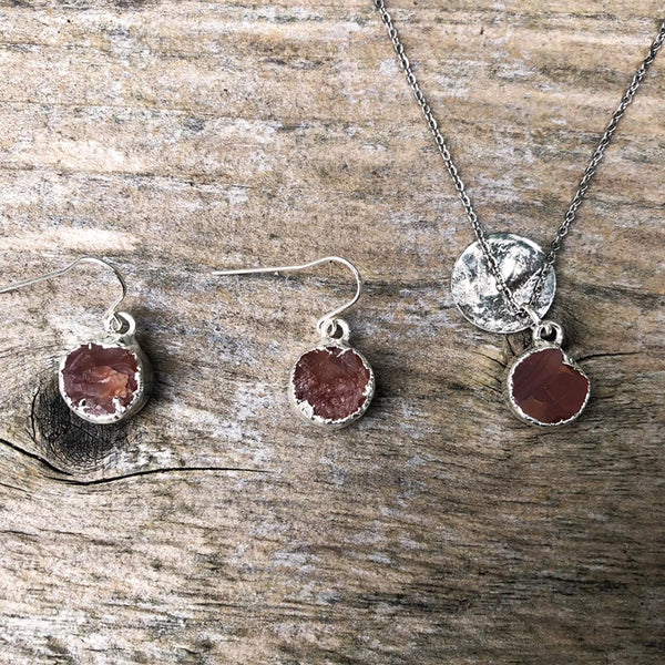 Silver plate Carnelian circular pendant and earrings set