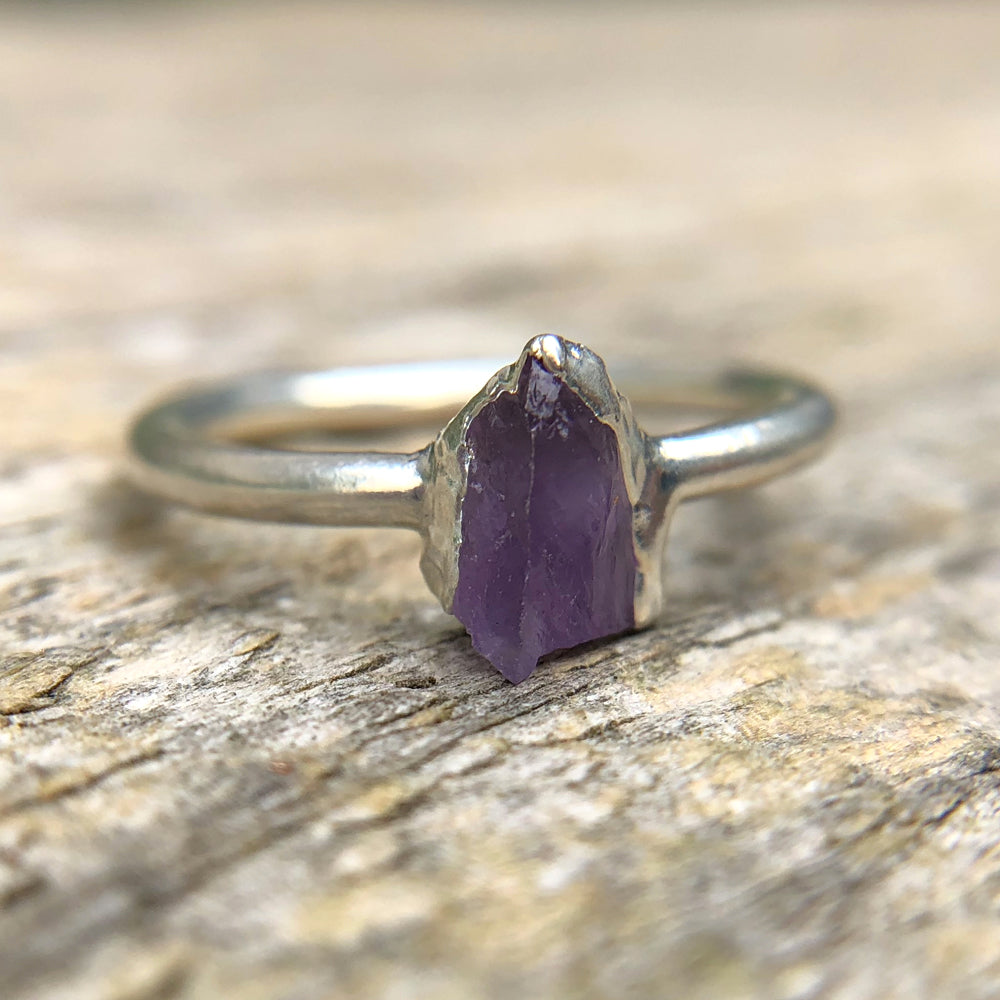 Sterling silver plate Amethyst stacking ring, Size M