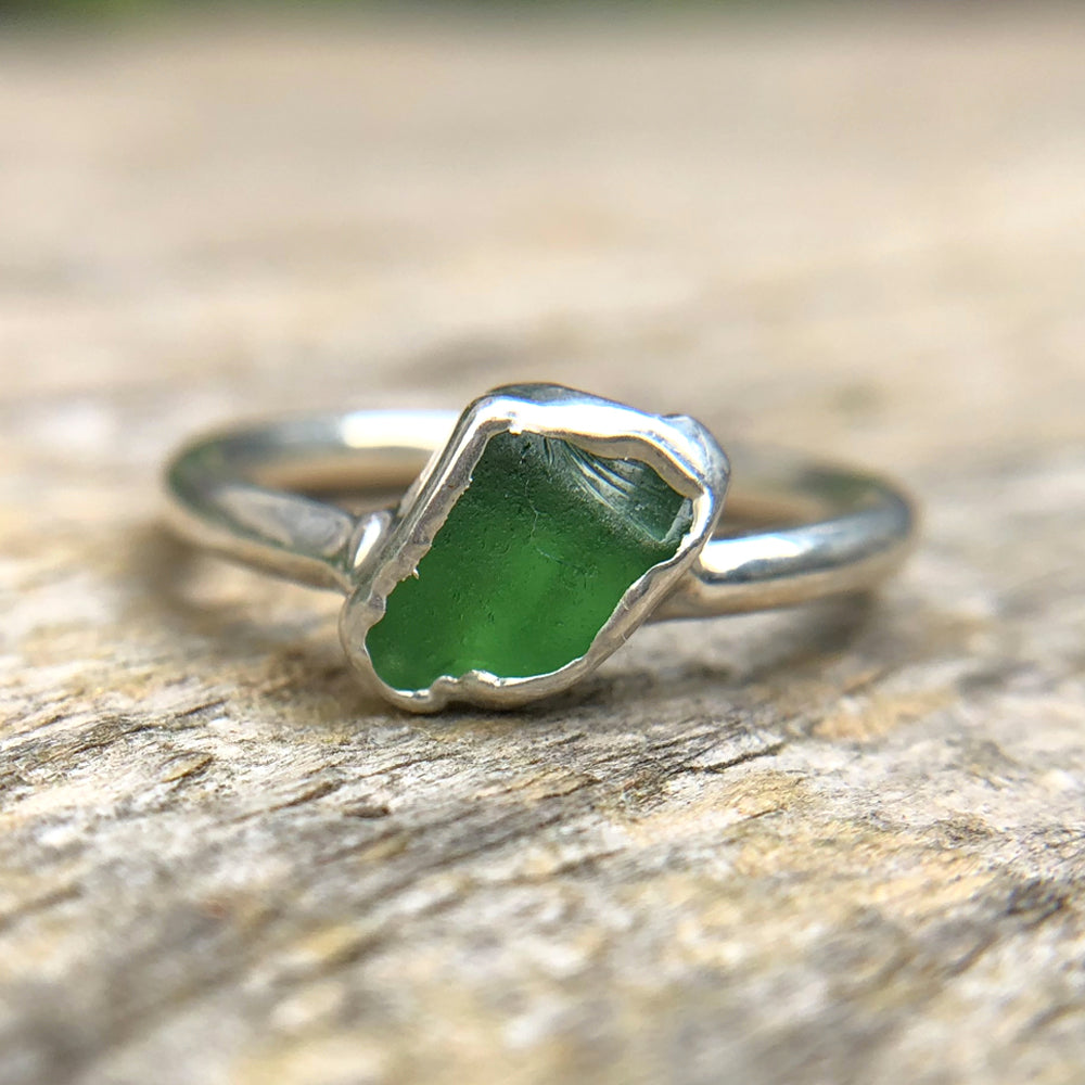 Sterling silver plate Jade stacking ring, Size M
