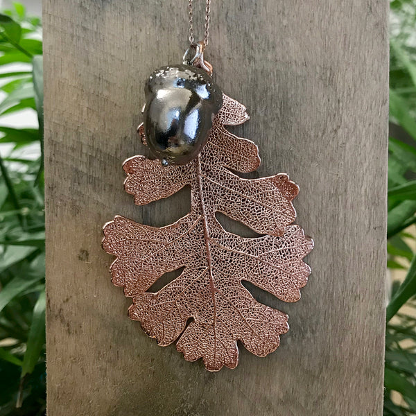 Acorn Platinum and Oak Rose Gold Plate Leaf Duo