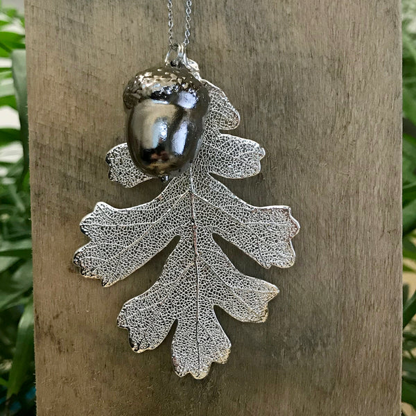 Acorn Platinum and Oak Silver Plate Leaf Duo