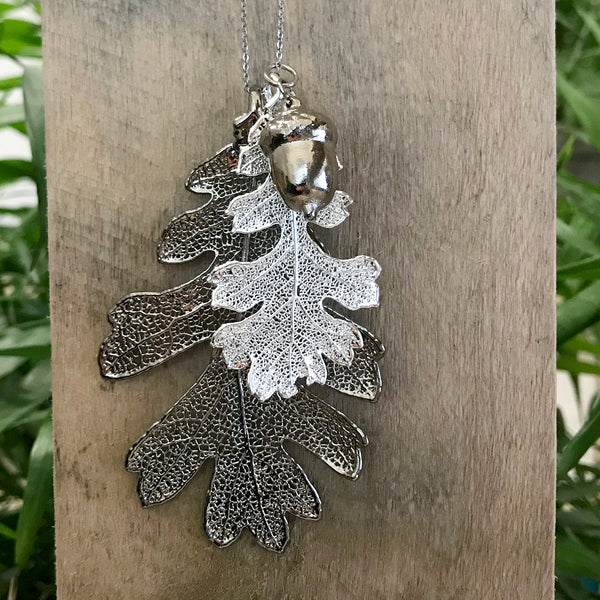 Acorn and Oak Platinum and Silver Plate Leaf Trio