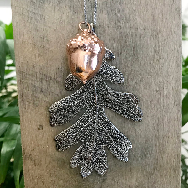 Acorn Rose Gold Plate and Oak Platinum Leaf Duo