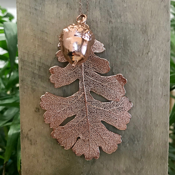 Acorn and Oak Rose Gold Plate Leaf Duo