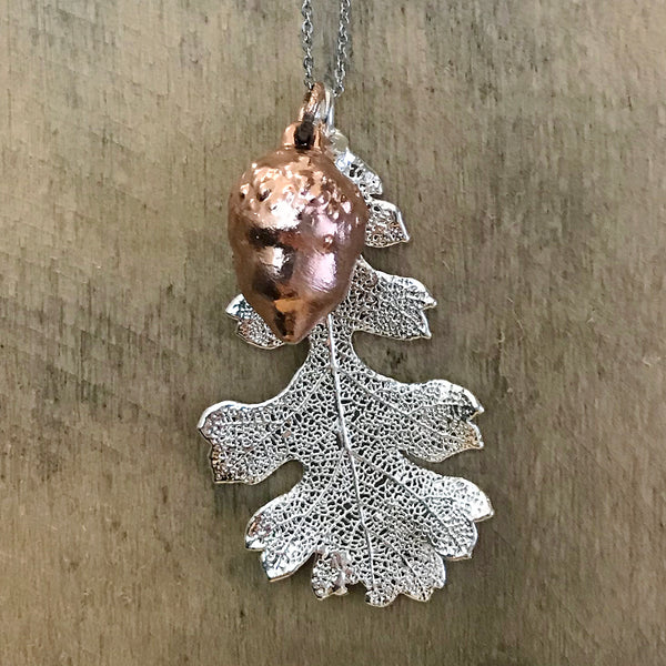 Acorn Rose Gold Plate and Oak Silver Plate Leaf Duo