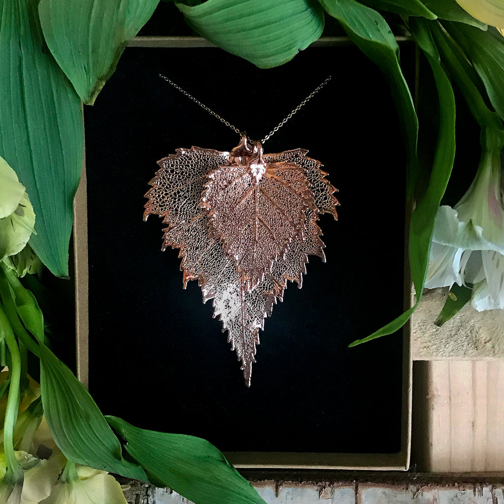 Birch Rose Gold Plate Leaf Duo