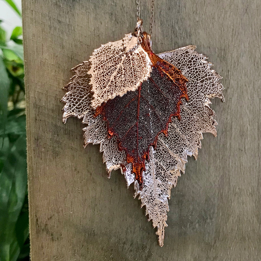 Birch Rose Gold Plate and Autumn Copper Leaf Trio