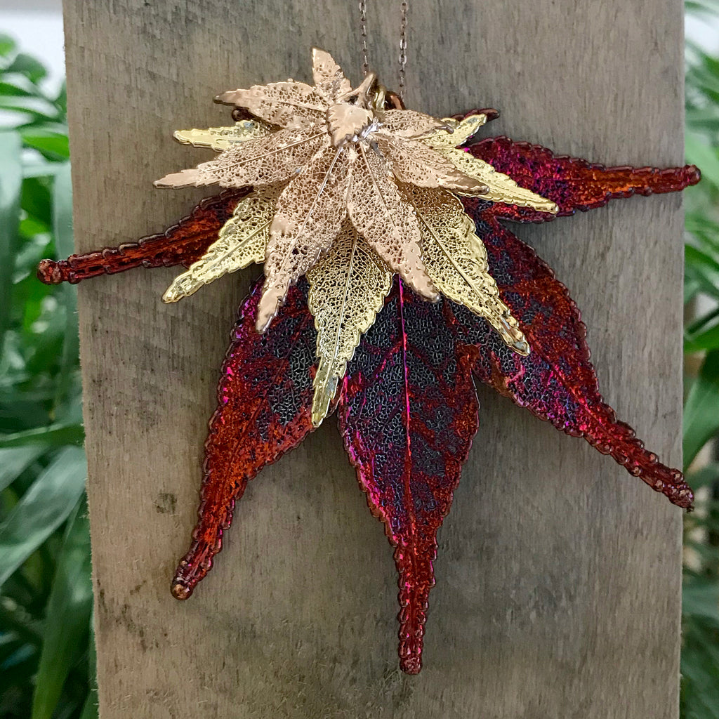 Japanese Maple Rose Gold Plate, Gold Plate and Autumn Copper Leaf Trio