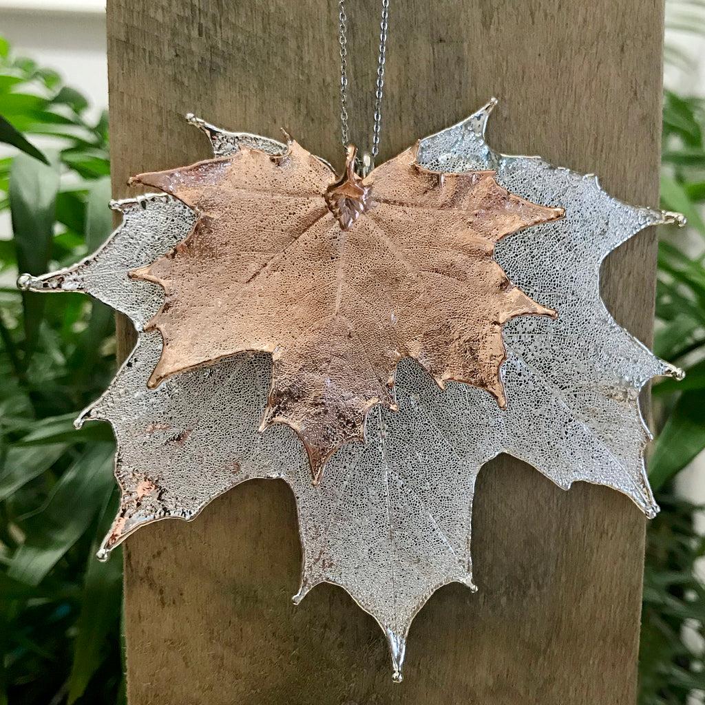 Canadian Maple Rose Gold Plate and Silver Plate Leaf Duo