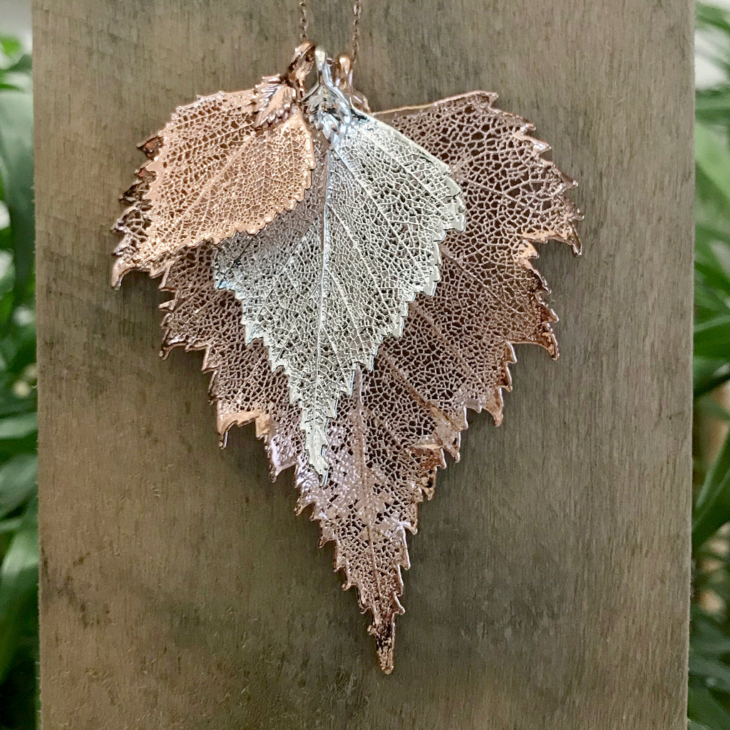 Birch Rose Gold Plate and Silver Plate Leaf Trio