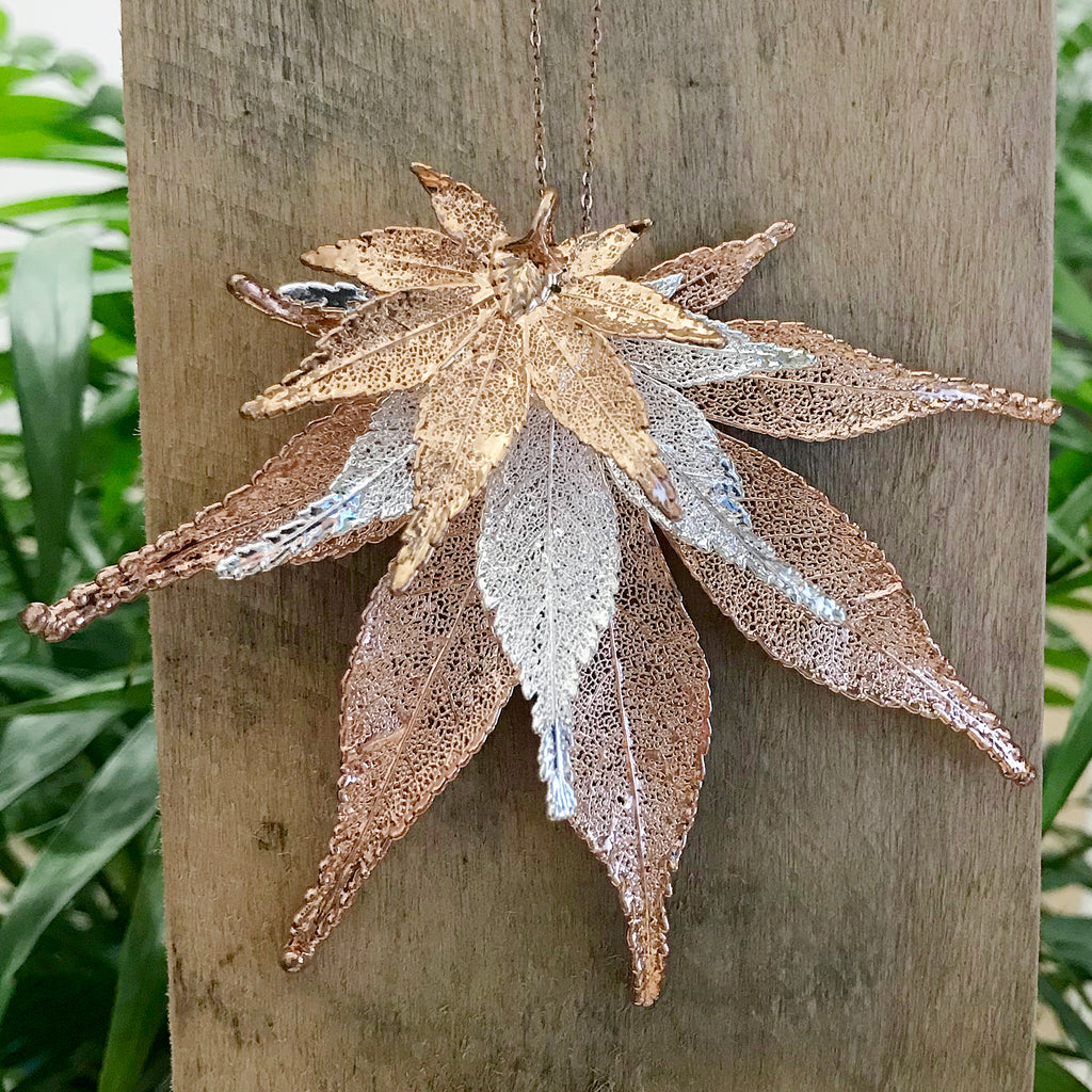 Japanese Maple Rose Gold Plate and Silver Plate Leaf Trio