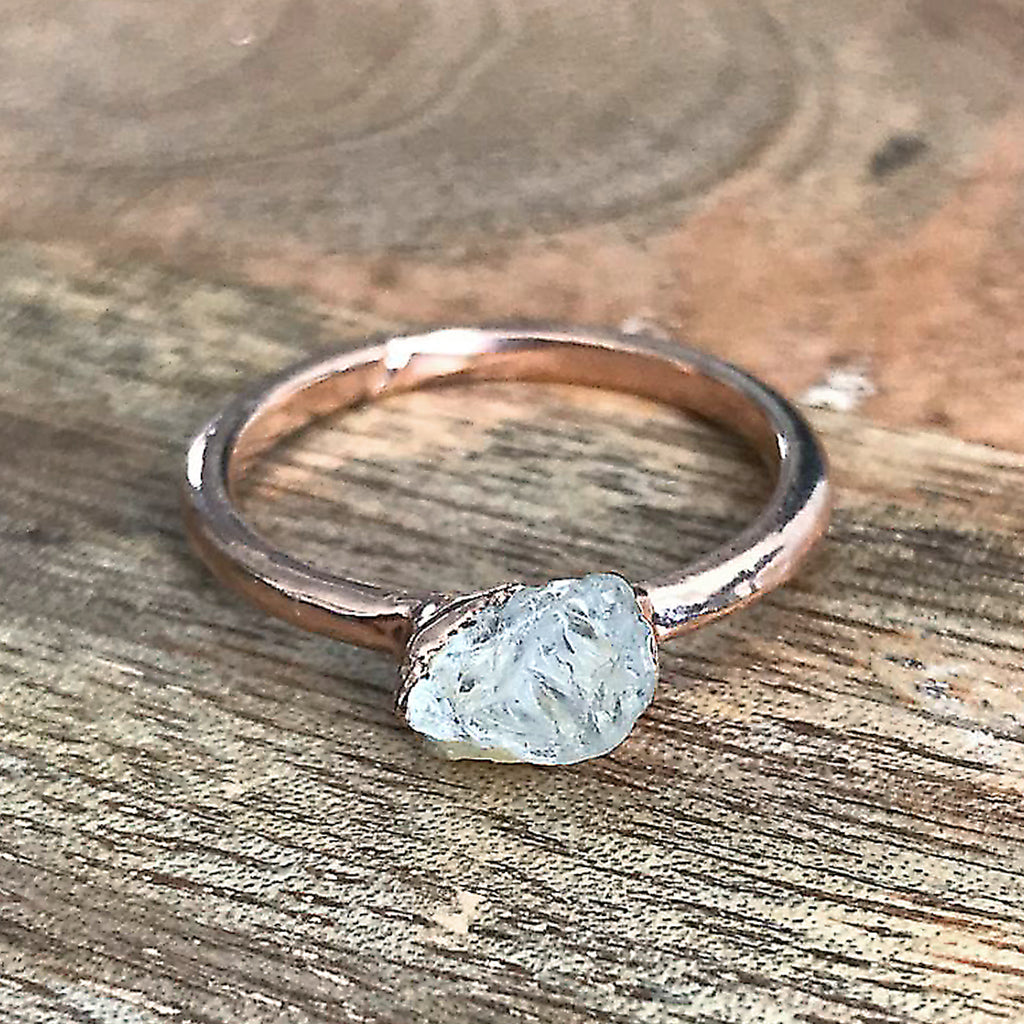 Rose Gold Plate Quartz Stacking Ring, UK O, US 7