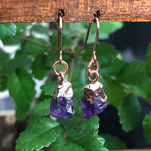 Rose Gold Amethyst Raw Drop Earrings