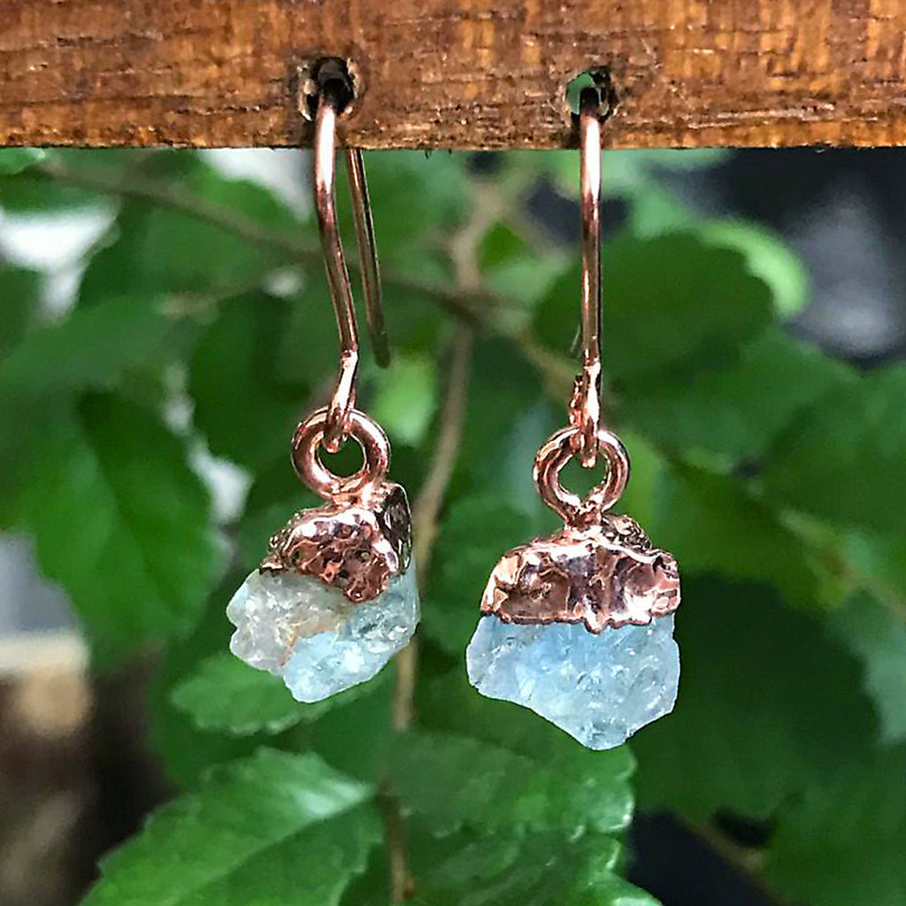 Rose Gold Aquamarine Raw Drop Earrings