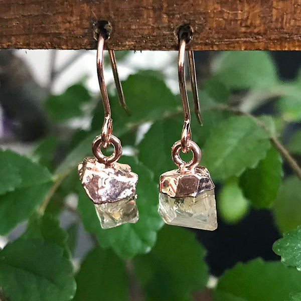 Rose Gold Citrine Raw Drop Earrings