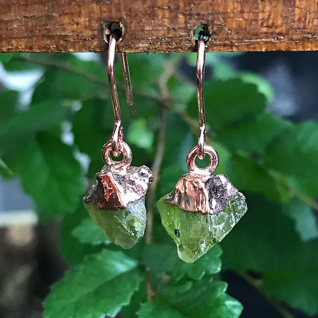 Rose Gold Green Tourmaline Raw Drop Earrings