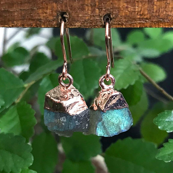 Rose Gold Labradorite Raw Drop Earrings