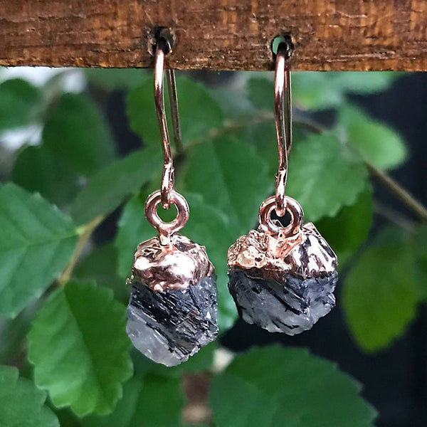 Rose Gold Rutilated Quartz Raw Drop Earrings