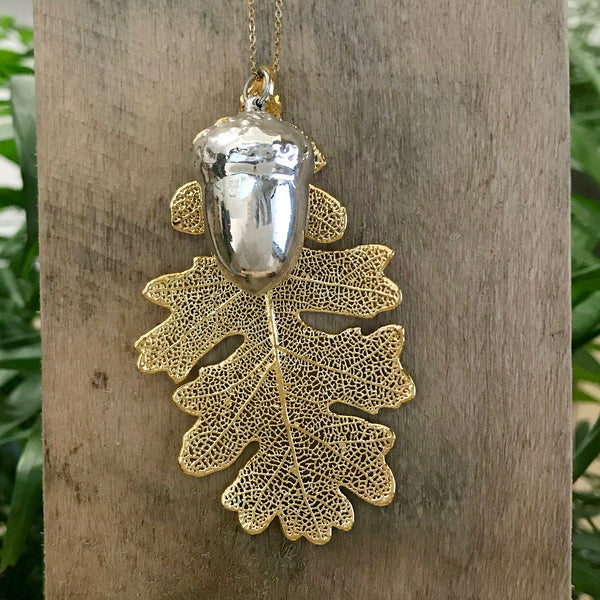 Acorn Silver Plate and Oak Gold Plate Leaf Duo