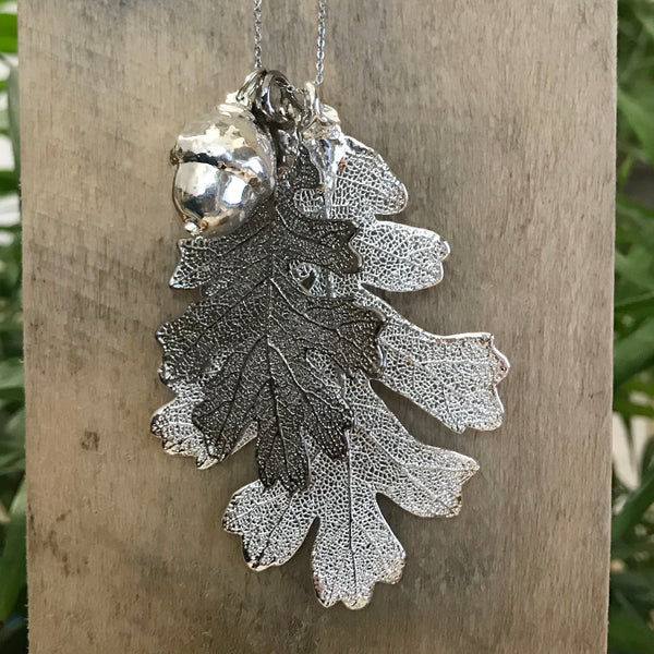 Acorn and Oak Silver Plate and Platinum Leaf Trio