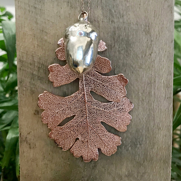Acorn Silver Plate and Oak Rose Gold Plate Leaf Duo