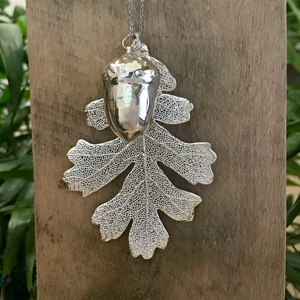 Acorn and Oak Silver Plate Leaf Duo