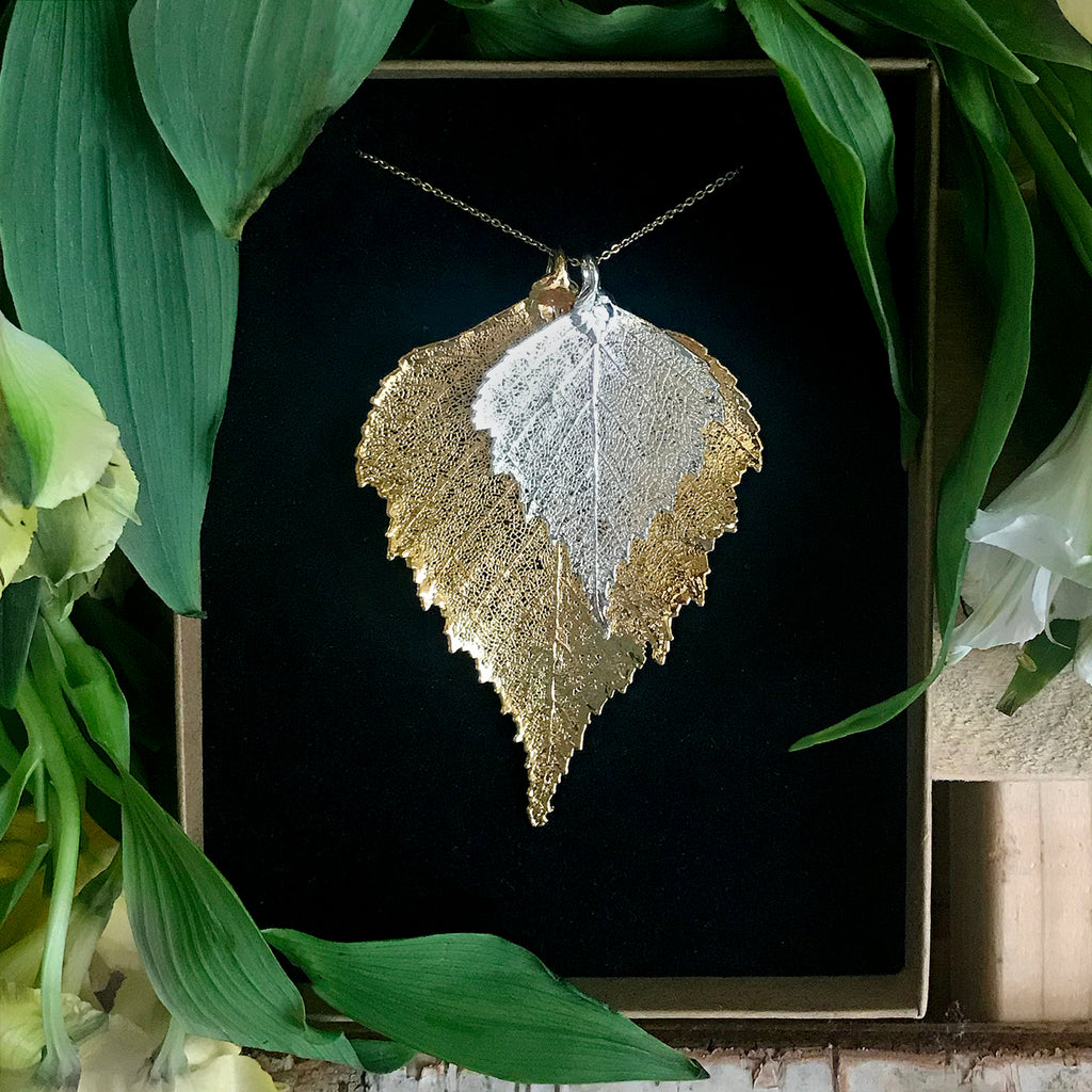 Birch Silver Plate and Gold Plate Leaf Duo