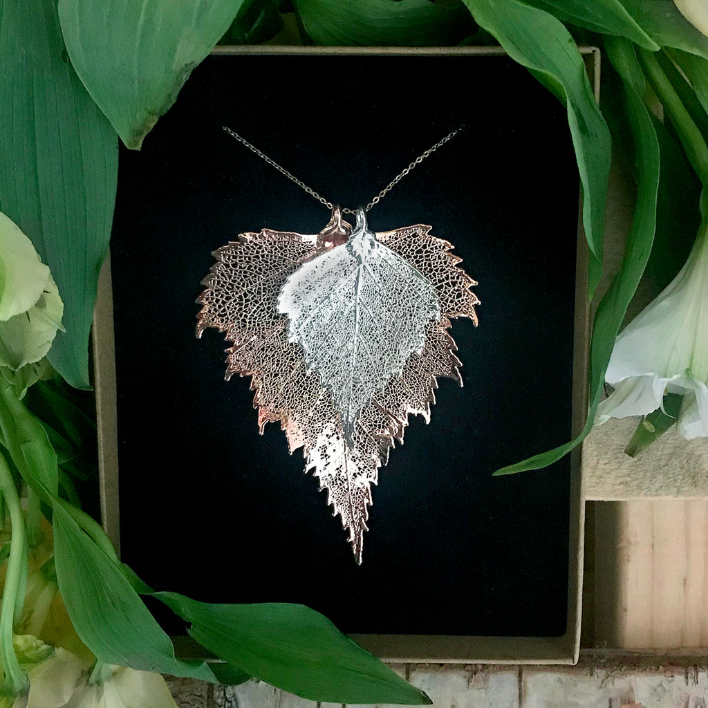 Birch Silver Plate and Rose Gold Plate Leaf Duo