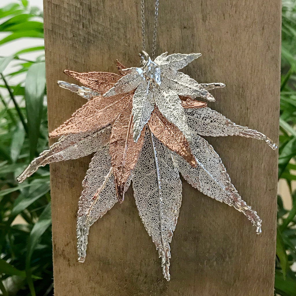 Japanese Maple Silver Plate and Rose Gold Plate Leaf Trio