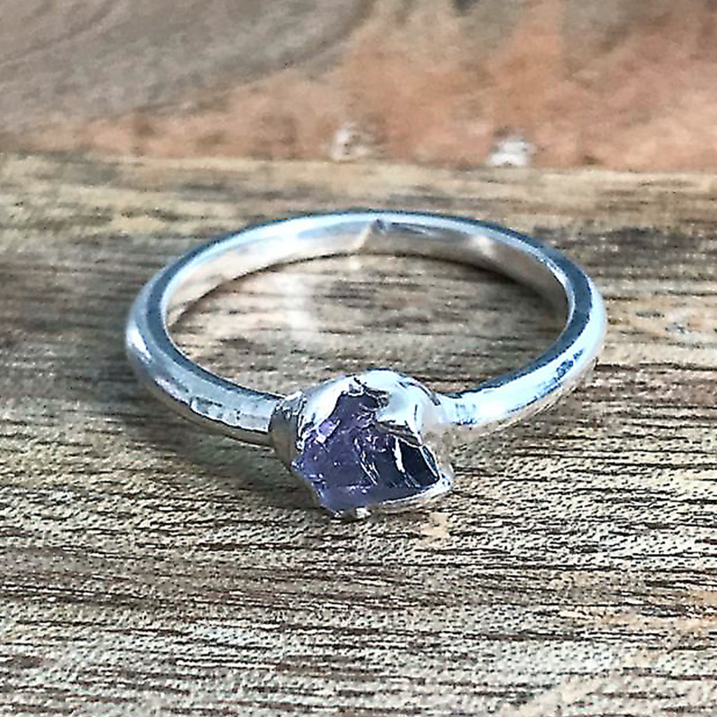 Silver Plate Amethyst Stacking Ring, UK M, US 6