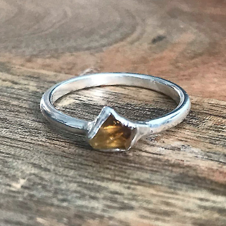 Silver Plate Citrine Stacking Ring, UK K 1/2, US 5 1/2