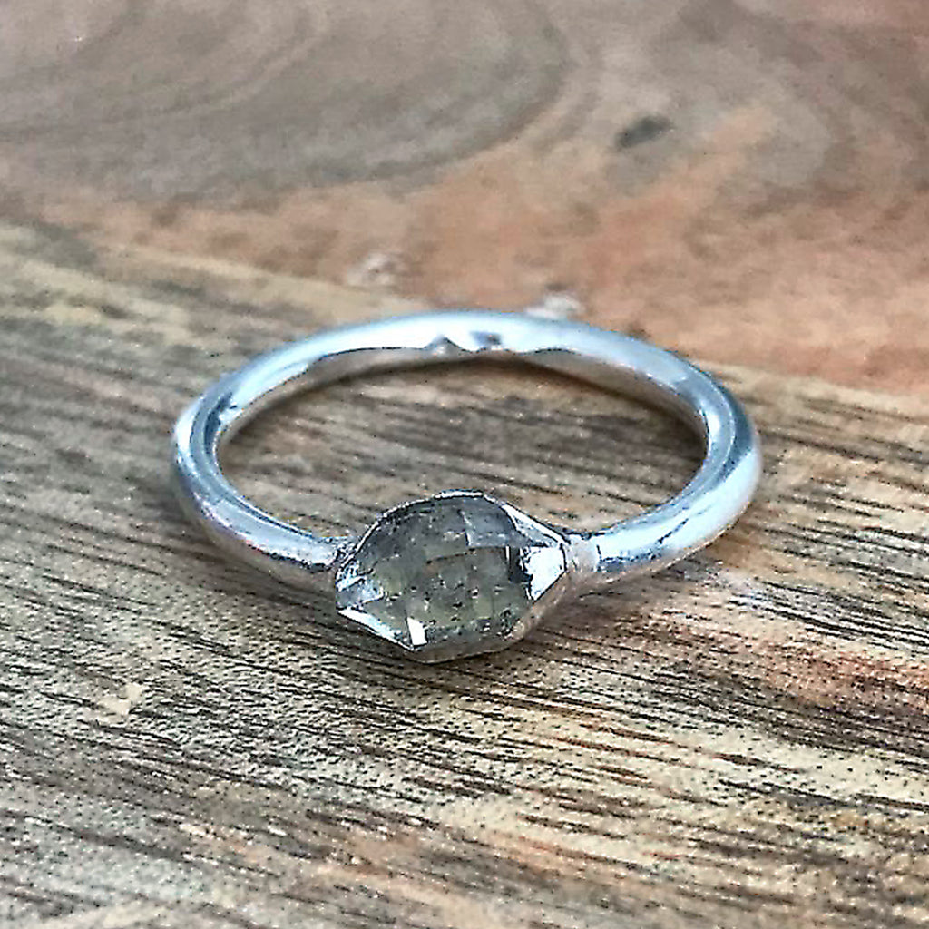 Silver Plate Herkimer Diamond Stacking Ring, UK L, US 5 1/2