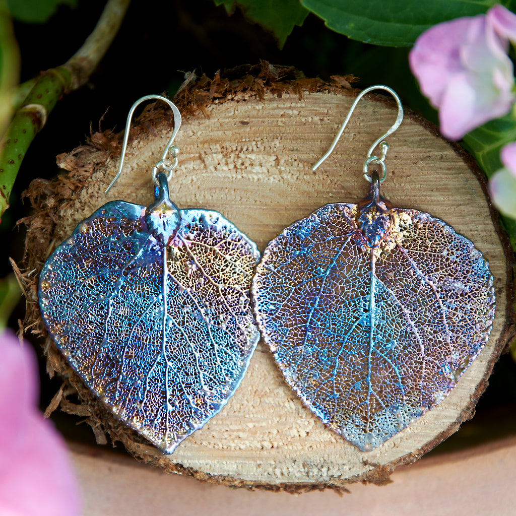 Aspen Petrol Silver Plate Leaf Earrings