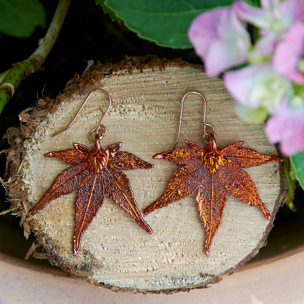Japanese Maple Autumn Copper Leaf Earrings